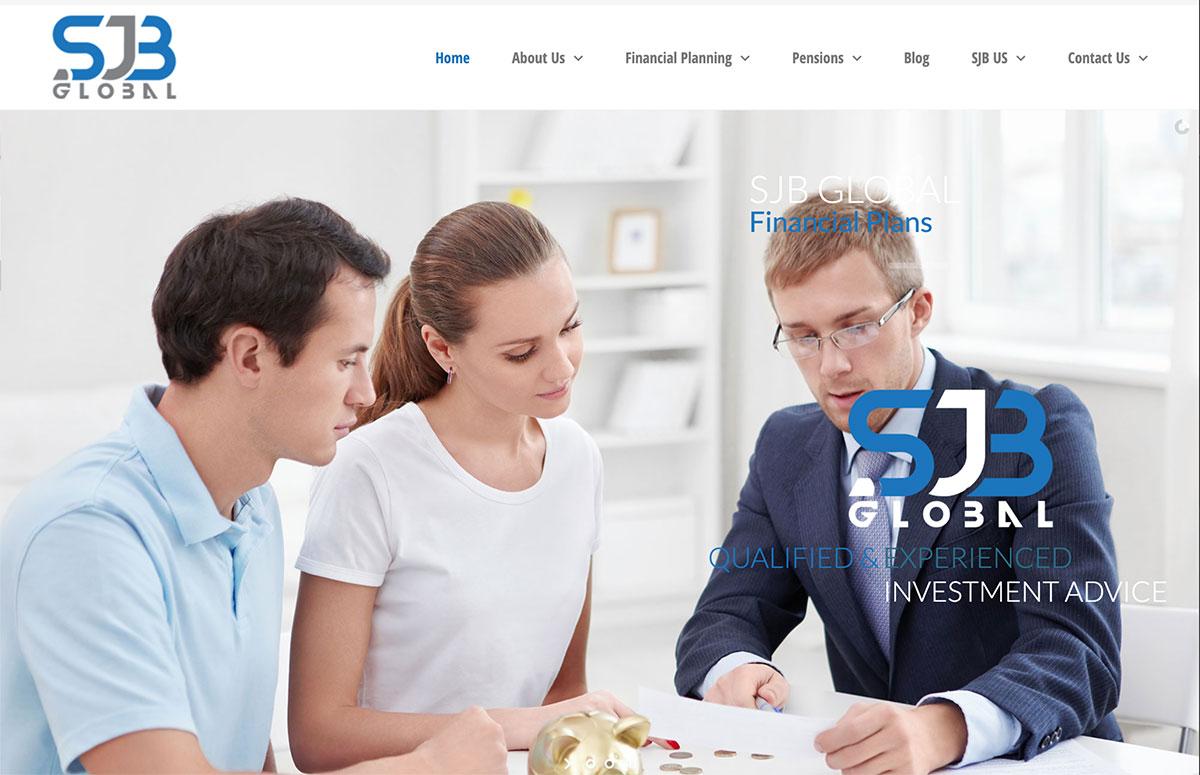 mobile first website design sjb global financial planning and pension advice website design