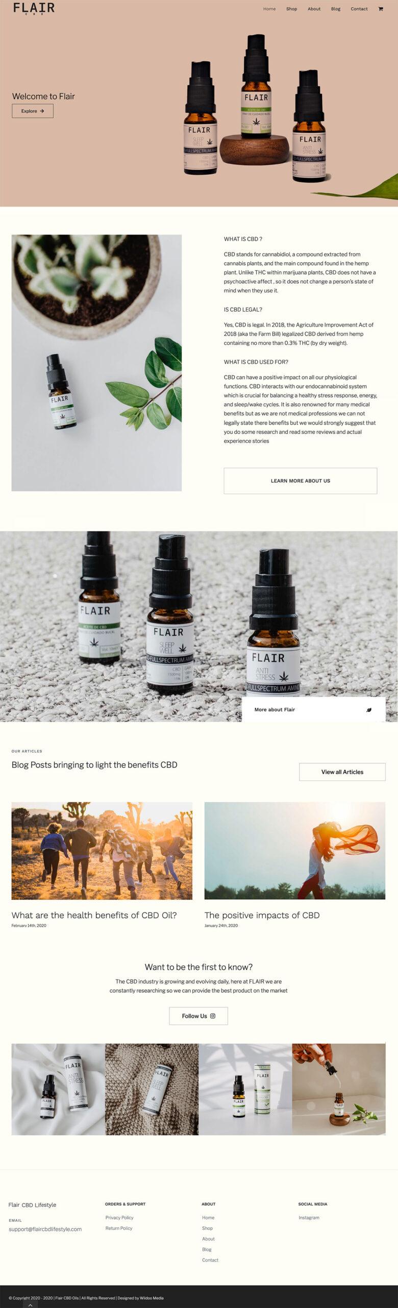 flair cbd lifestyle wordpress website design cbd oils wiidoo media marbella