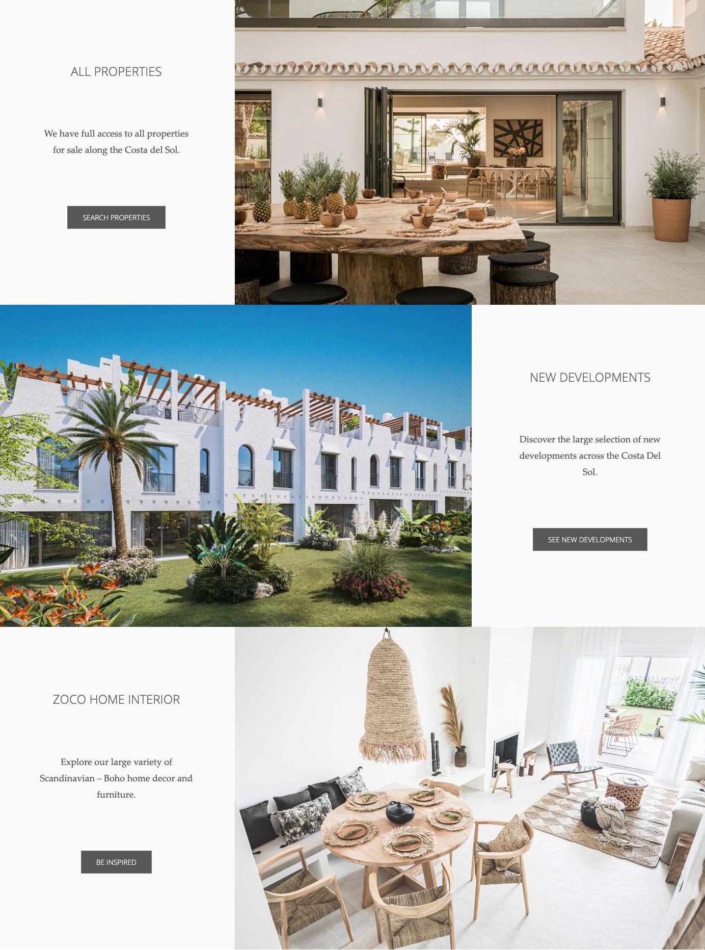 Mobile first website design marbella zoco homes real estate website design