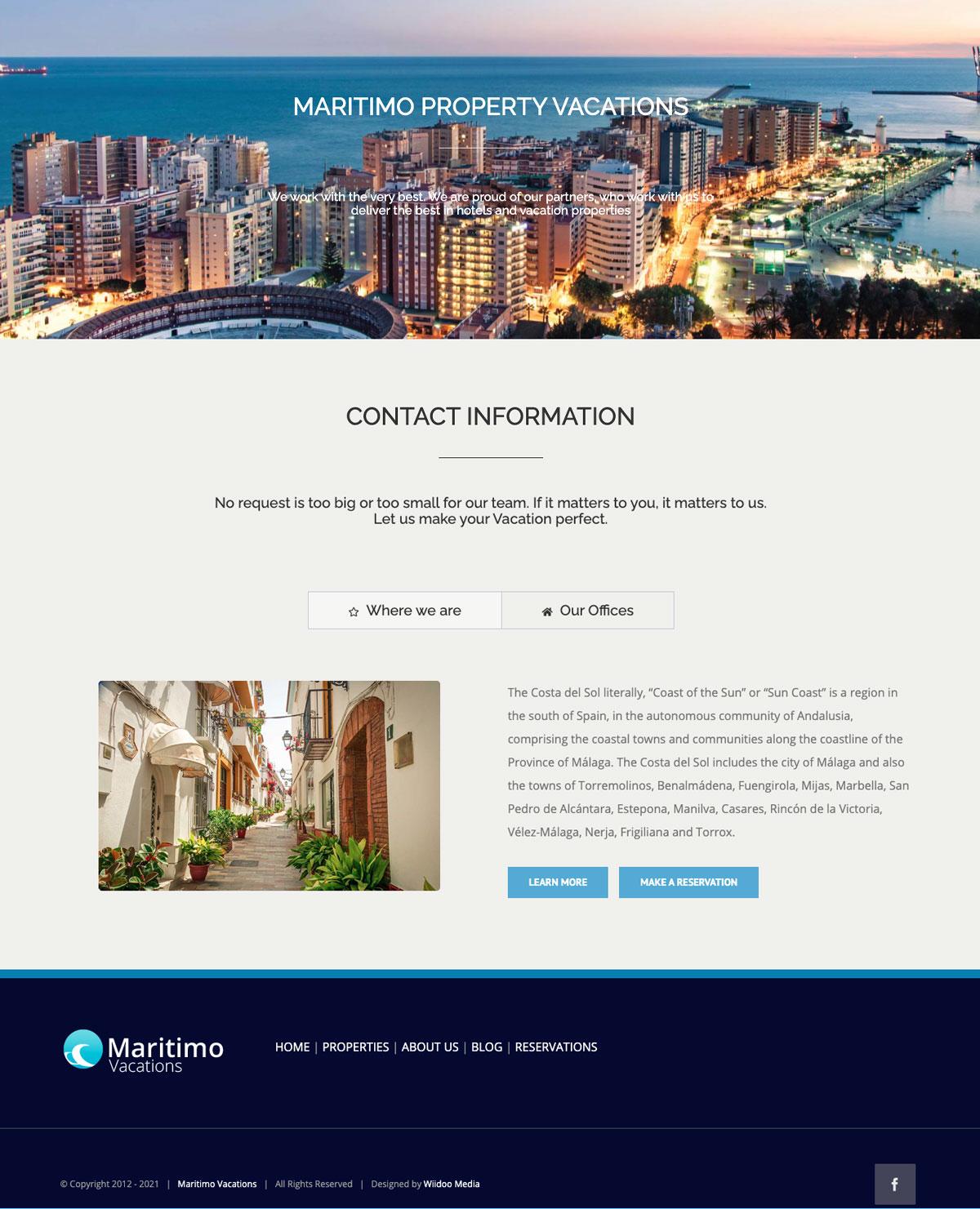 Maritimo Property Vacation Marbella wordpress website designers